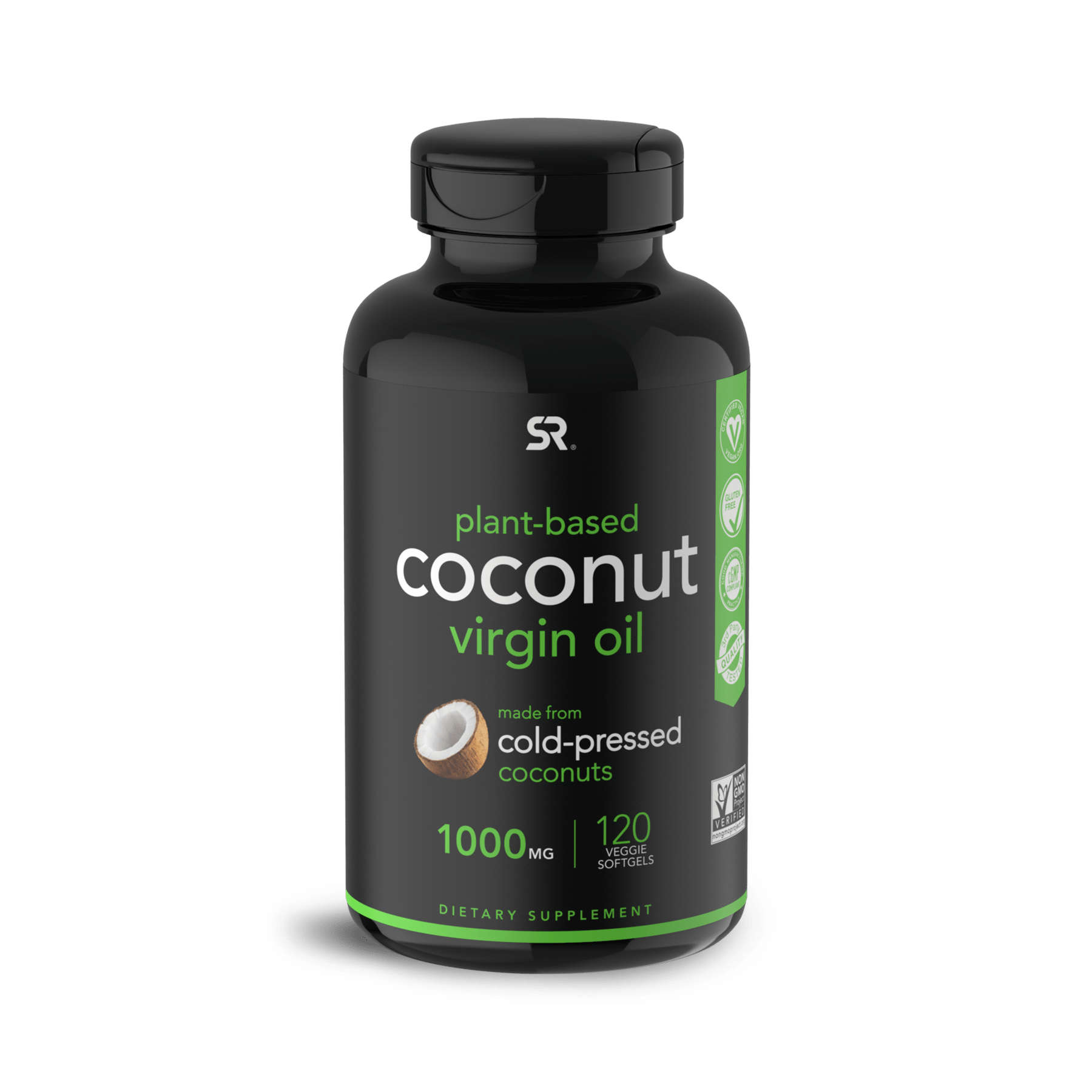 Кокосовое масло, Coconut Oil Virgin Organic 1000mg, Sports Research (120 капсул)