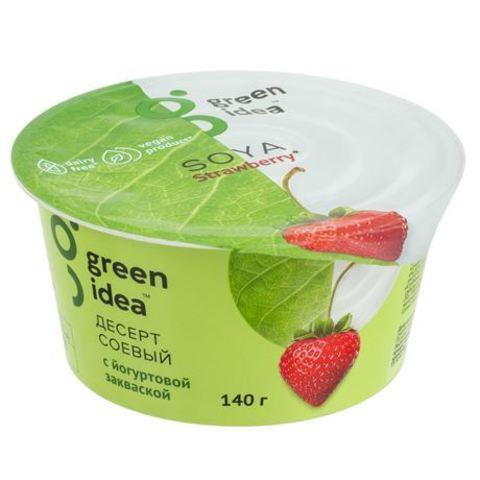 Green idea Десерт соевый с йогуртовой закваской клубничный 140 г
