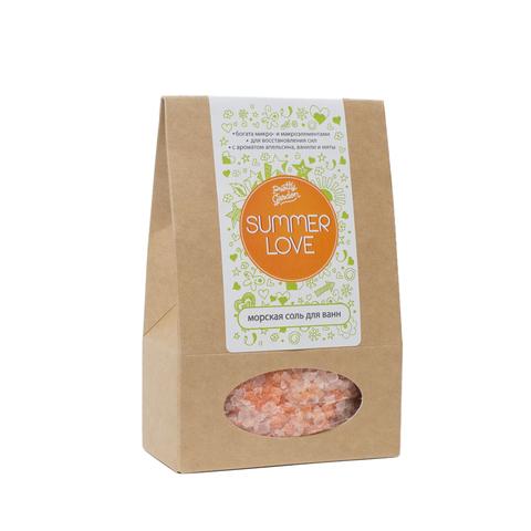 Морская соль для ванн Summer Love, 500 г с ароматом апельсина, ванили и мяты ТМ PRETTY GARDEN