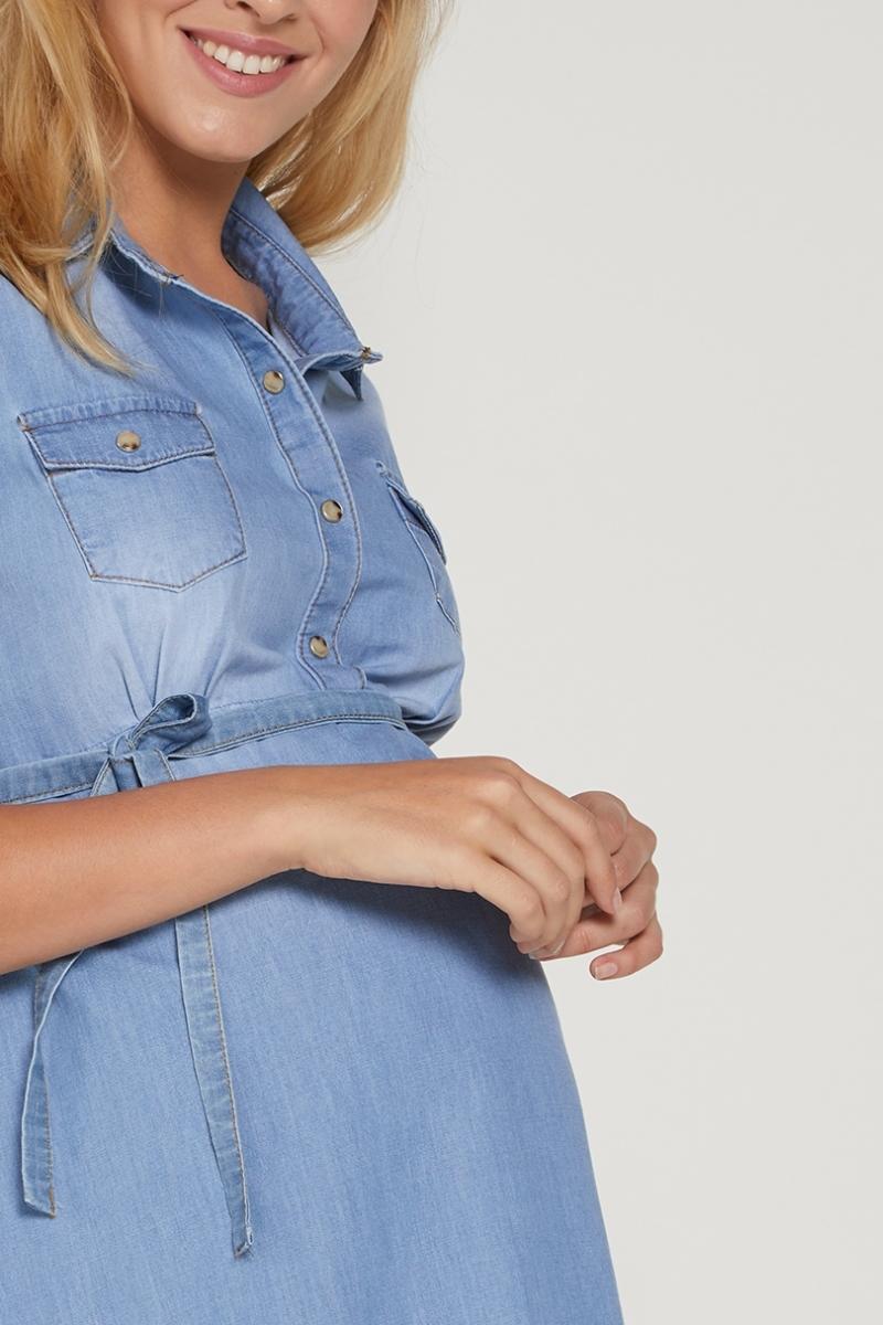 Фото платье для беременных GEBE, джинсовое от магазина СкороМама, голубой, размеры.