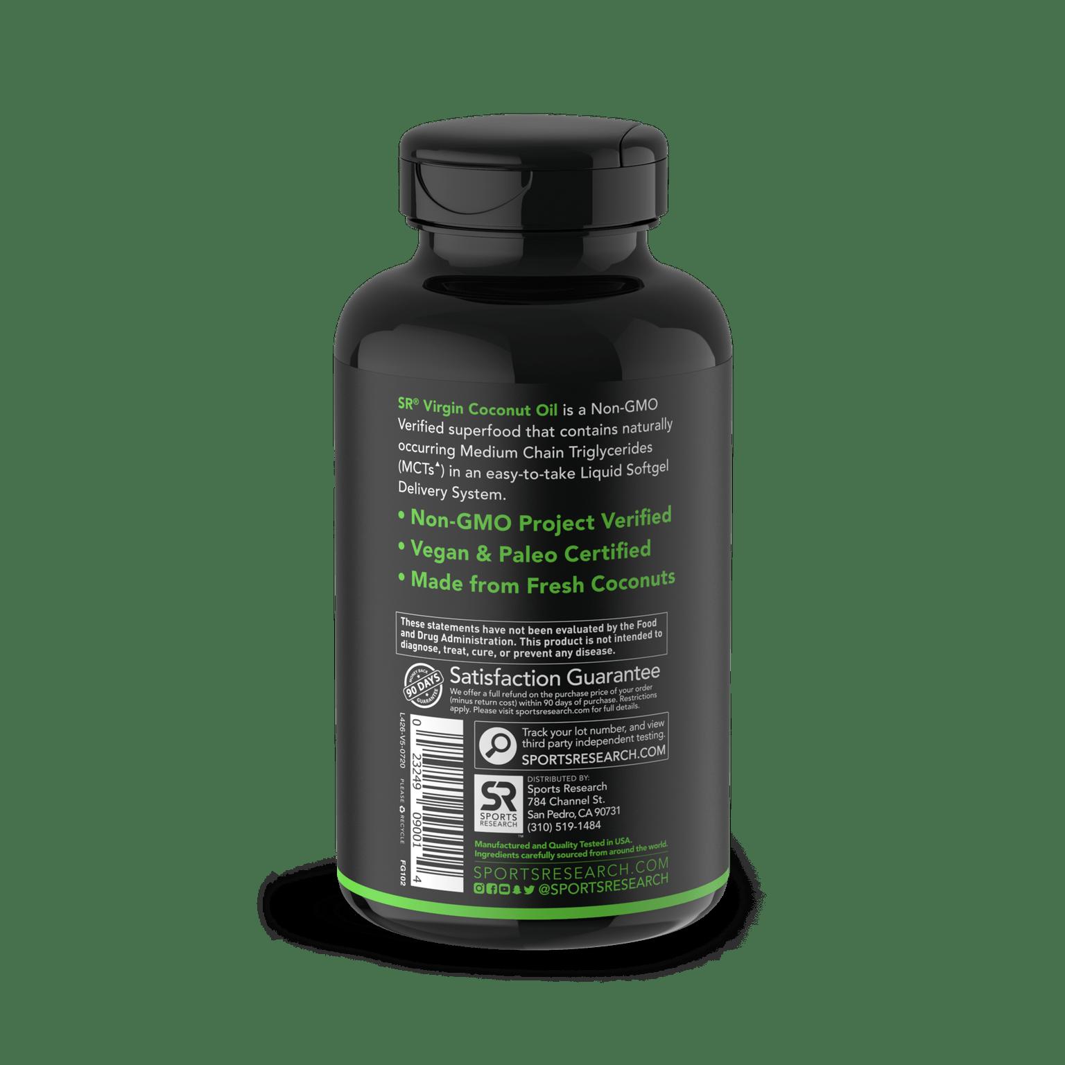 Coconut Oil Virgin Organic 1000mg, Sports Research