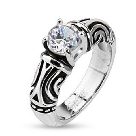 Кольцо стальное женское с цирконом SPIKES R-M2245