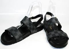 Мужские кожаные сандалии Louis Vuitton 1008 01Blak.