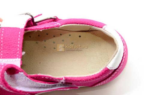 Ботинки для девочек Лель (LEL) из натуральной кожи на липучках цвет фуксия. Изображение 14 из 17.