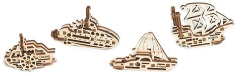 Фиджеты Корабли (4 шт.) (Ugears) - Деревянный конструктор, сборная модель, 3D пазлия