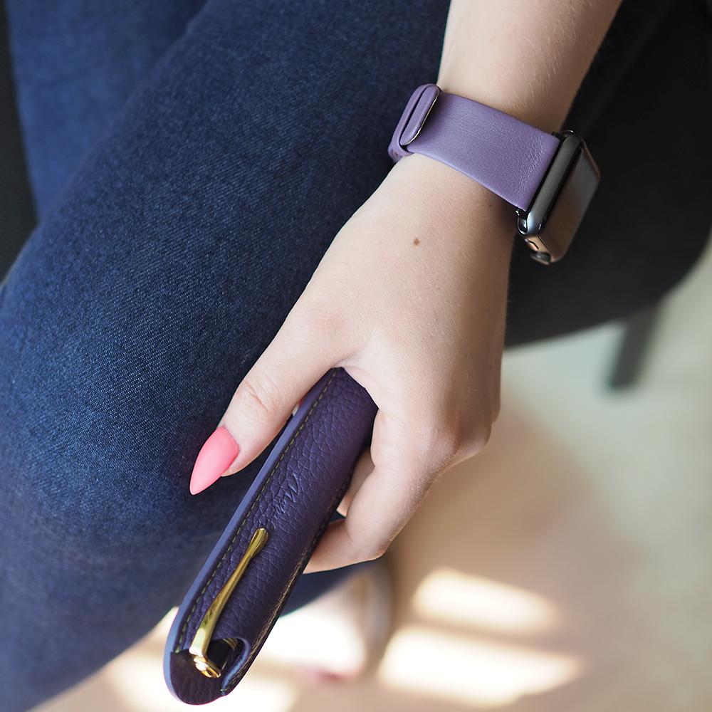 Чехол для ручки Mine Bicolor из натуральной кожи теленка, сиреневого цвета