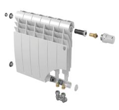 Биметаллический радиатор с правым нижним подключением Royal Thermo Biliner 500 V Silver Satin (серебристый)- 4 секции