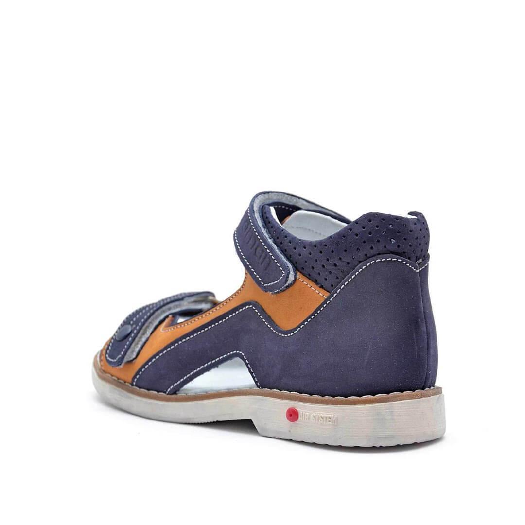 Кожаные анатомические сандалики Nordman Play синие с бежевым