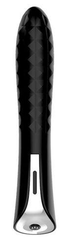 Черный вибромассажер MAGIC DIAMOND THRUSTER - 13 см.