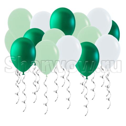 Воздушные шары с гелием под потолок Белый, зеленый металлик, мята
