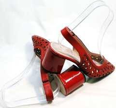 Туфли босоножки на каблуке с закрытым носком женские G.U.E.R.O G067-TN Red