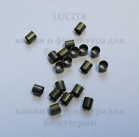 Кримпы - зажимные бусины (трубочки) 2,5х2,5мм (цвет - античная бронза) 2гр, около 105-115 шт ()
