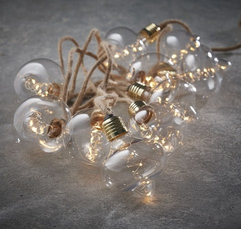 Гирлянда ретро на бечевке с лампочками Luca Lighting теплый белый свет (10 ламп, длина гирлянды 315 см)