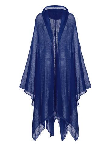Женский шарф темно-синего цвета из мохера и шерсти - фото 1