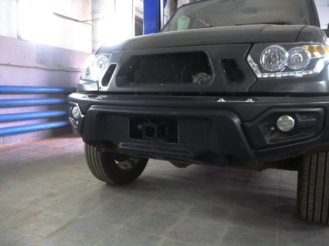 Композитный передний бампер УАЗ Патриот, Пикап, Карго с фарами белый АВС-Дизайн