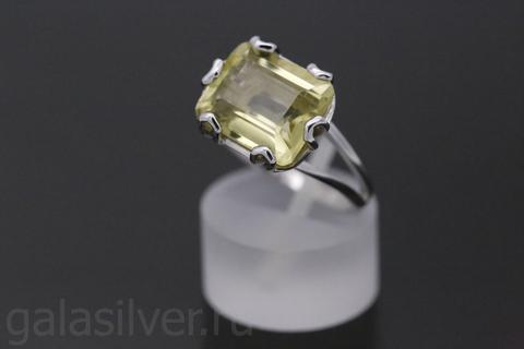 Кольцо с лимонным кварцем из серебра 925