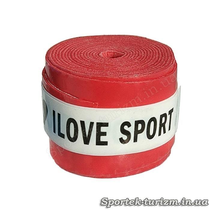 Красная тонкая обмотка I Love Sport для ручки ракетки