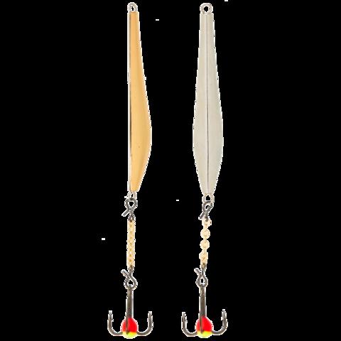 Блесна вертикальная зимняя LUCKY JOHN Double Blade (цепочка, тройник), 40 мм, SG