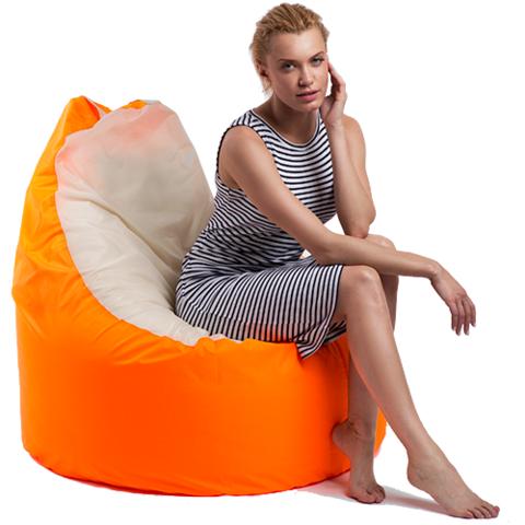 Бескаркасное кресло «Комфорт», Оранжево-белый