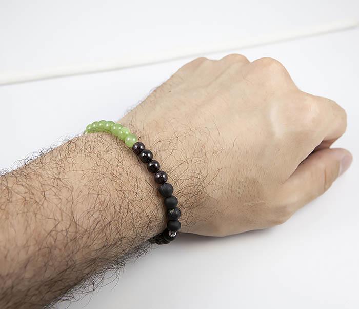 BS814 Яркий браслет ручной работы из оникса и шунгита фото 09