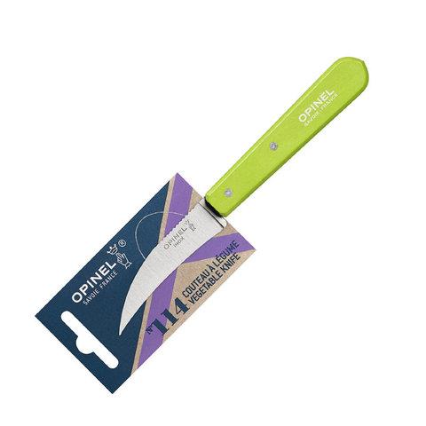 Нож для чистки овощей Opinel №114, деревянная рукоять, нержавеющая сталь, зеленый, блистер