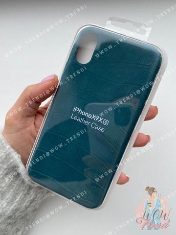 Чехол iPhone X/XS Leather case full /green/