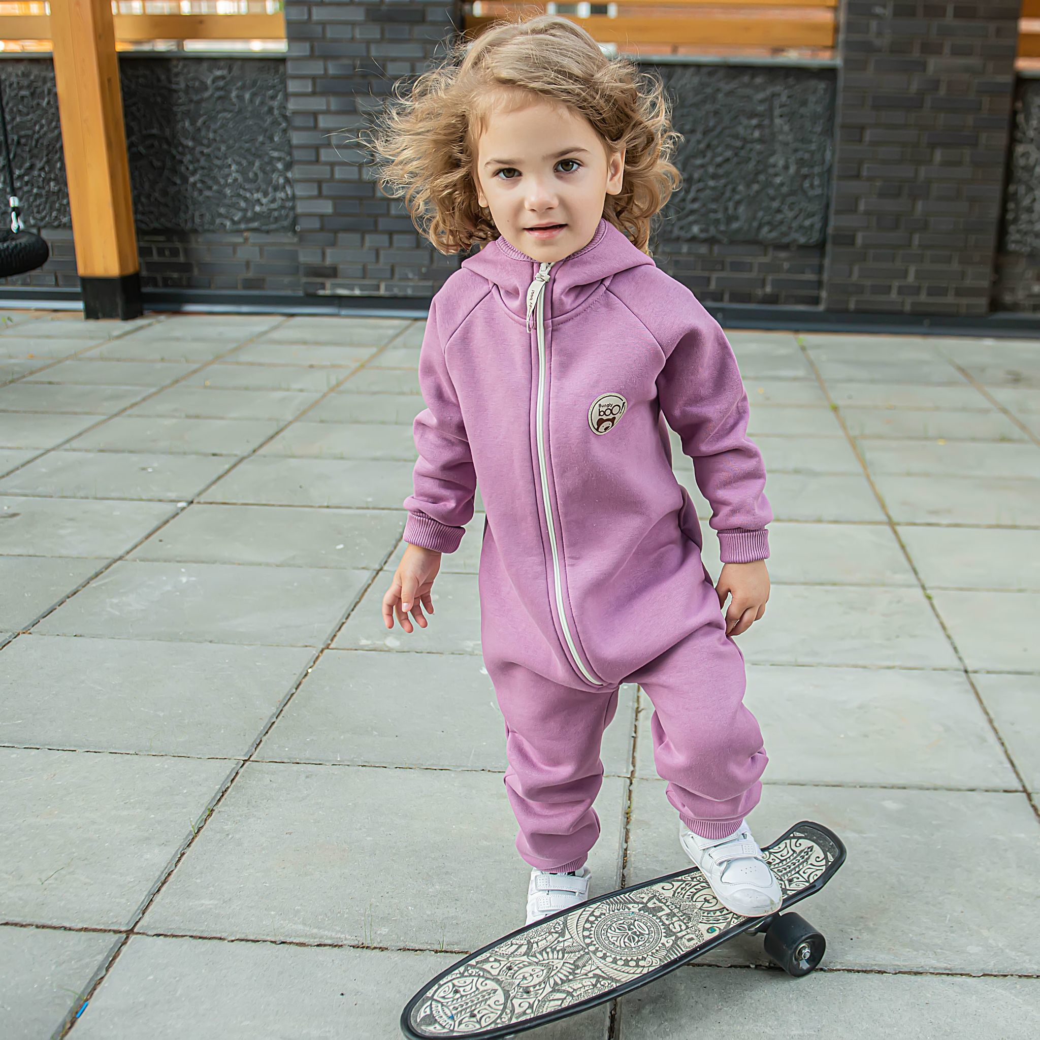 Warm hooded jumpsuit with flap - Lilac