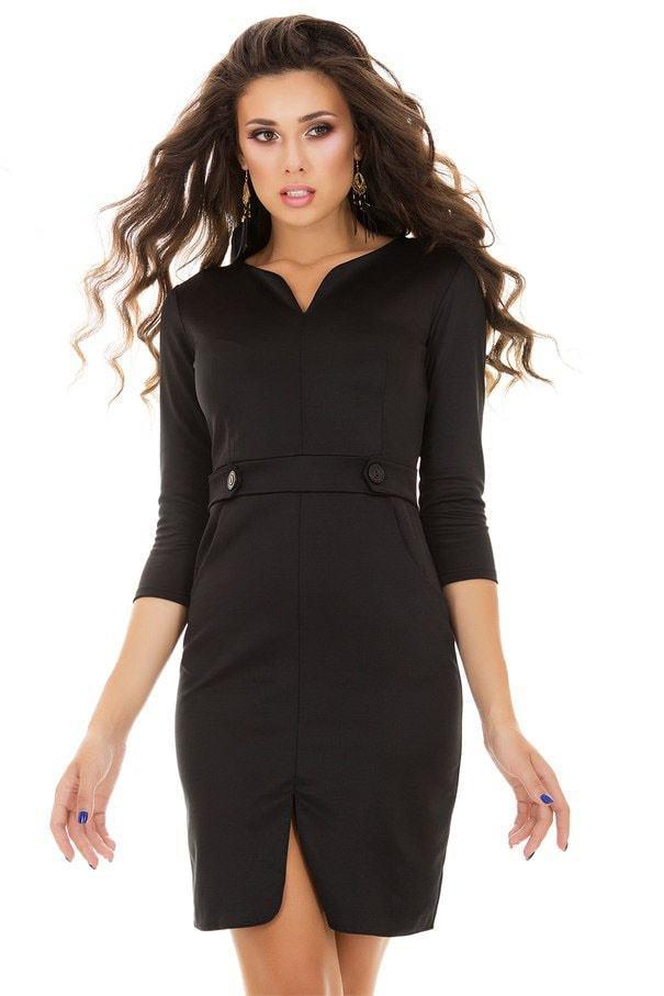 Платье-футляр с пуговицами, черное