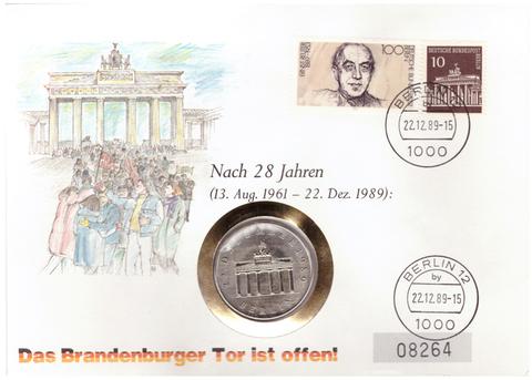 20 марок. Открытие Бранденбургских ворот 22 декабря 1989. Германия-ГДР. Медноникель. 1990 г. UNC. В конверте