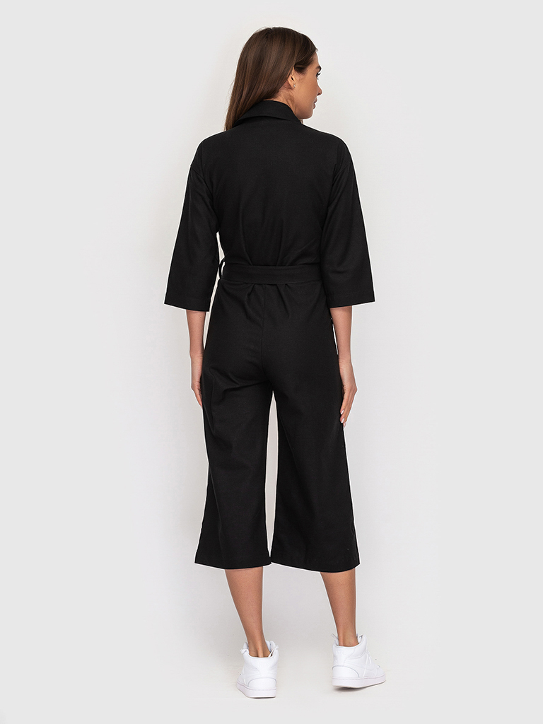 Комбинезон льняной черный YOS от украинского бренда Your Own Style