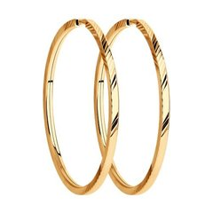 140046- Серьги-конго из золота 585пр  с алмазными гранями Ø 30 мм