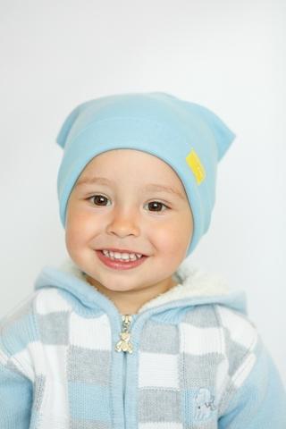 Детская шапка хлопковая гладкая голубая
