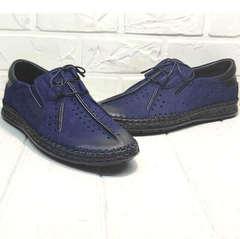 Мужские туфли мокасины синие casual premium Luciano Bellini 91268-S-321 Black Blue.