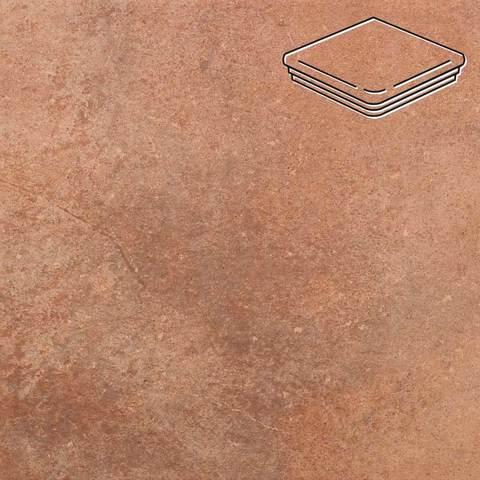 Stroeher - Keraplatte Aera 755 camaro 345x345x12 артикул 9331 - Угловая клинкерная ступень - флорентинер