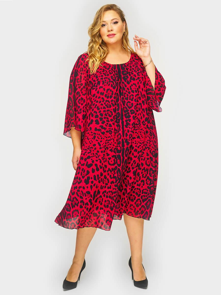 Платье шифоновое Красный леопард