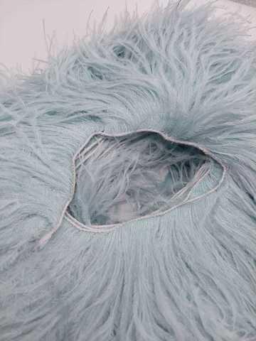 Премиум Тесьма  из перьев страуса на нитке в 2 слоя h 10-15 см., Пыльный голубой (10 метров)