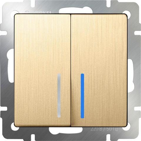 Werkel Выключатель W1122110 (WL10-SW-2G-2W-LED) шампань рифленый  (2-кл прох с подсв)