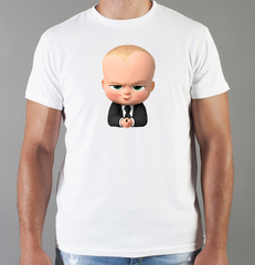 Футболка с принтом мультфильма Босс-молокосос (The Boss Baby) белая 009