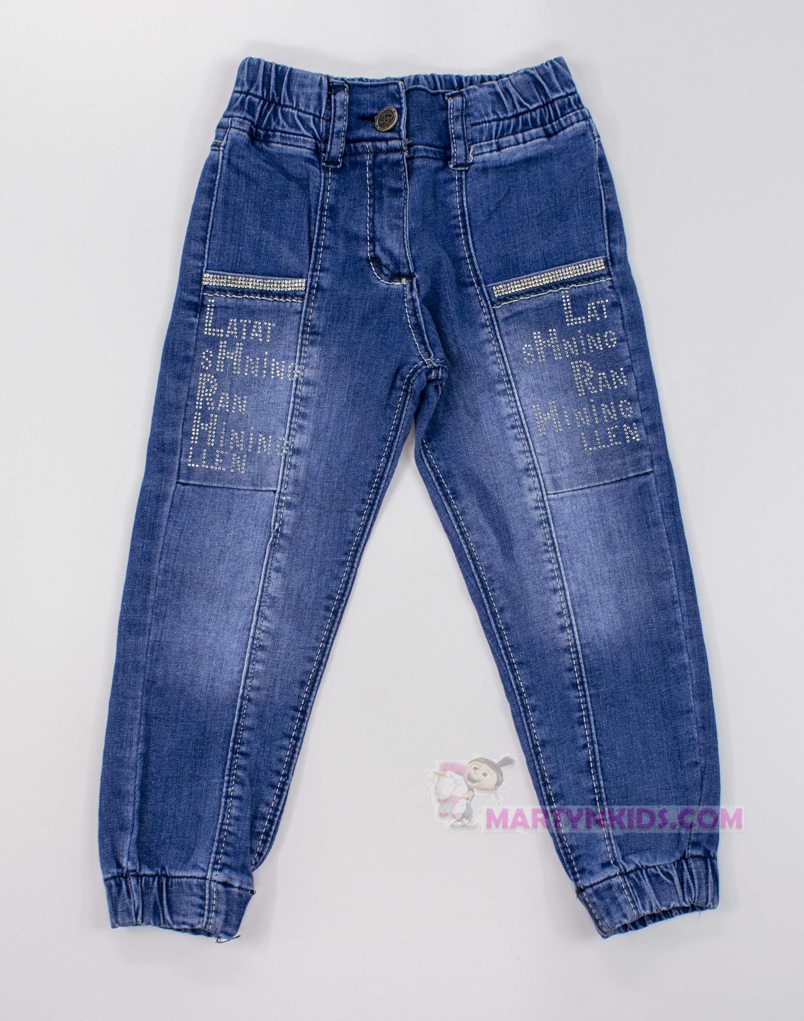 3390  джинсы Надпись стразы стрейч