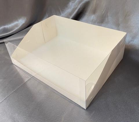 Коробка для торта с пластиковой крышкой белая, 31*23,5*10см