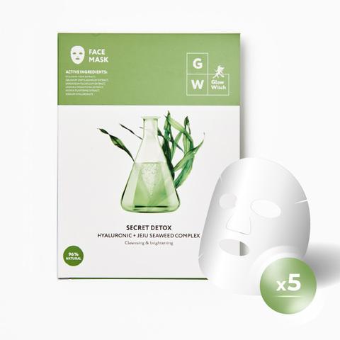 Glow Witch New York Превосходно очищающая тканевая маска для лица (3-е поколение) гиалуроновая кислота и водоросли набор 5шт