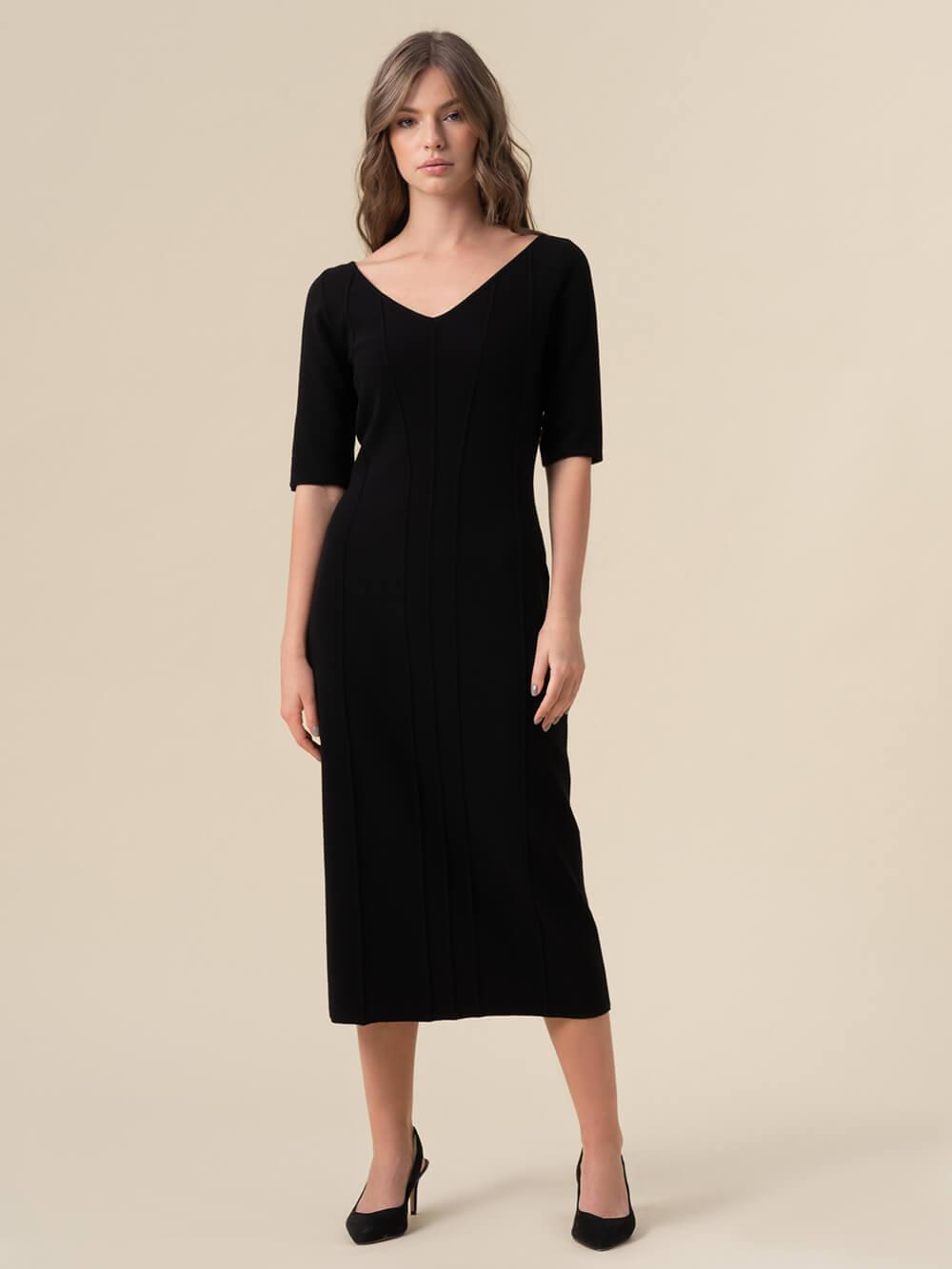 Женское платье черного цвета из вискозы - фото 1