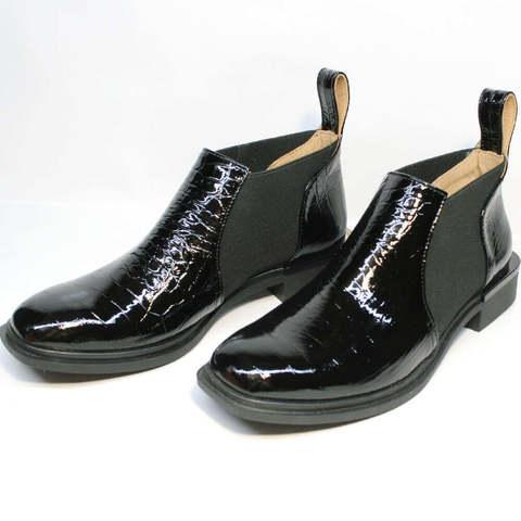 Модные туфли полуботинки челси женские. Низкие ботильоны с квадратным носом без каблука Ari Andano BS