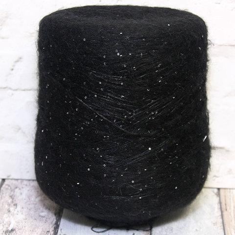 Пайетки на полиамиде с мохером LAGOPOLANE / KIDPAI черный с серебром