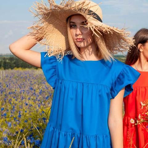 Детское, подростковое летнее платье для девочек в синем цвете