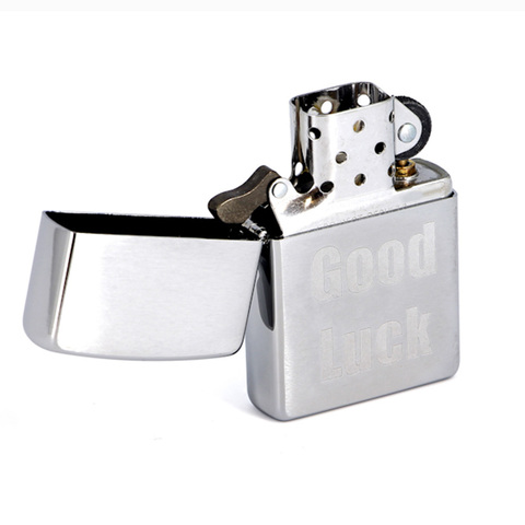 Зажигалка Zippo Good Luck с покрытием Brushed Chrome, латунь/сталь, серебристая, матовая, 36x12x56