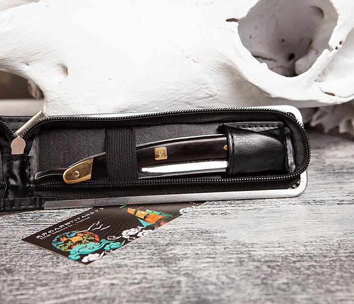 RAZ417 Опасная бритва Titan с деревянной рукояткой фото 04