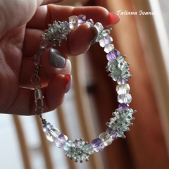 Нежный браслет с натуральными камнями аметрина