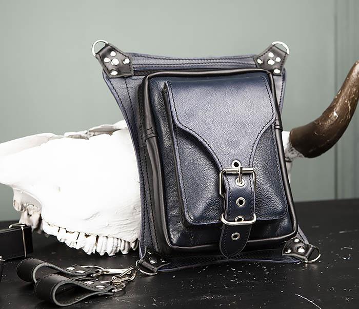 BAG369-5 Мужская набедренная сумка из кожи черного и синего цветов