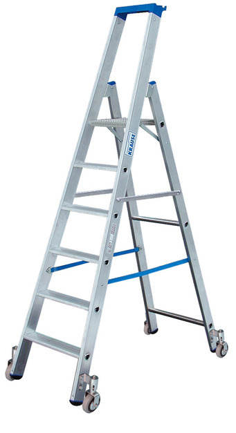 Свободностоящая передвижная лестница-стремянка, оснащенная траверсой KRAUSE STABILO , 10 ступенек